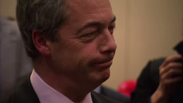 interior shots nigel farage milling at cpac conference, talking to delegates, interior interview alain robert, political intern, interior interview... - commentator stock videos & royalty-free footage