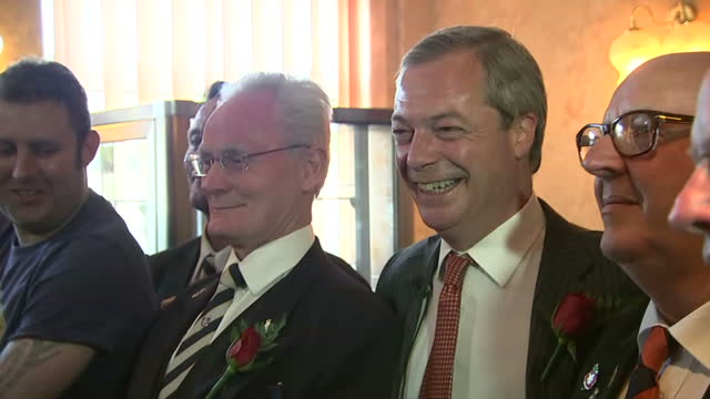 interior shots nigel farage ukip leader speaking to press meeting veterans at campaign event in ramsgate on april 23 2015 in ramsgate england - ramsgate stock videos & royalty-free footage