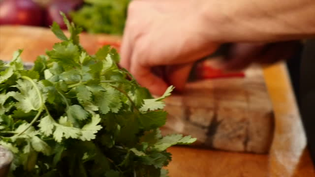 interior shots of a chef preparing and arranging an elaborate salad featuring fresh chillies and coiander on a plate in a domestic kitchen on 14... - chilli con carne video stock e b–roll