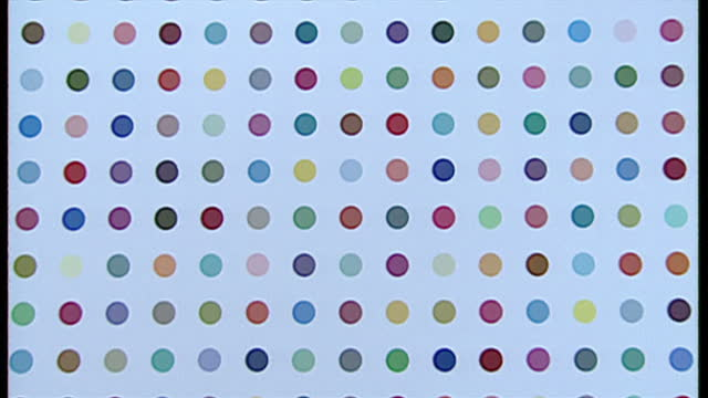 Interior shots of a Damien Hirst painting 'Oleoylsarcosine' or 'Pyronin Y' on display on October 31 1995 in London England