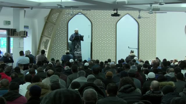 interior shots of a group of men sat in mosque listening to an imam preaching a sermon ahead of open mosque day on 1 march 2019 in london united... - imam stock videos & royalty-free footage