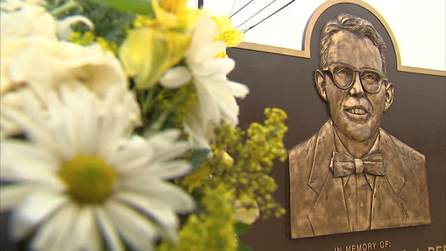 Interior shots of a memorial plaque and wreath in tribute to The Reverend James J Reeb in front of the Selma voting rights mural>> on March 07 2015...