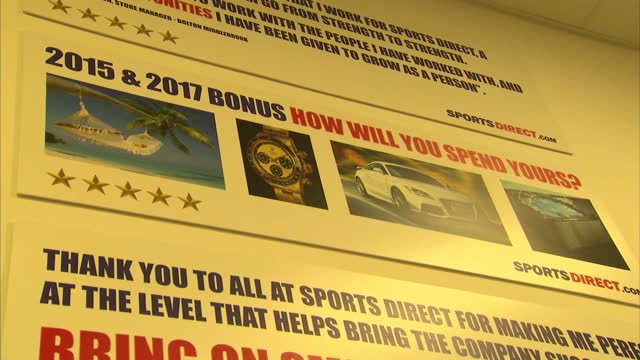 interior shots of a motivational staff poster advertising the 2015/17 staff bonus on november 07, 2016 in shirebrook, england. - incentive stock videos & royalty-free footage