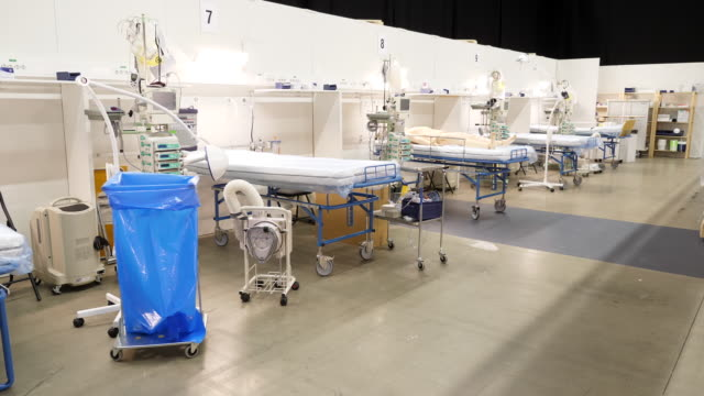 interior shots of a new empty makeshift coronavirus ward intended to treat covid overflow patients on 3 april 2020 in stockholm sweden - スウェーデン点の映像素材/bロール