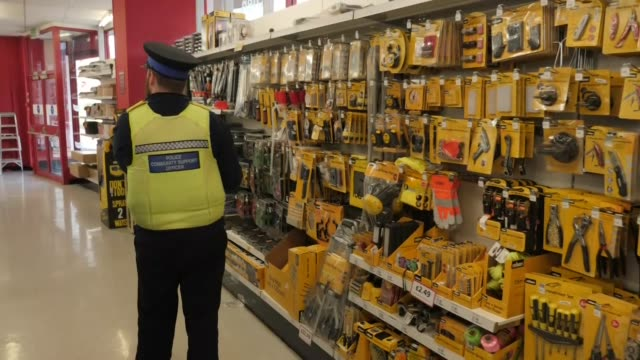 interior shots of a police community support officer inspecting knives on sale on the shelves of a hardware shop on 11 march 2019 in bedford united... - knife weapon stock videos and b-roll footage