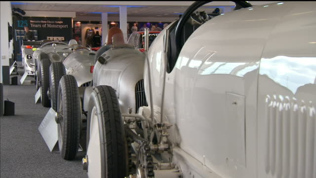 interior shots of a showcase of classic mercedes race cars up to present day formula 1 cars on 6th april 2019 at silverstone circuit,... - silverstone stock videos & royalty-free footage