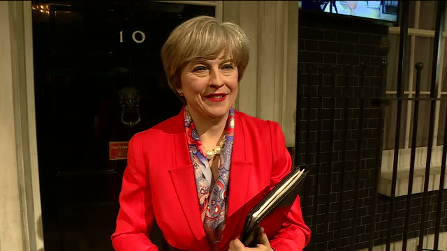 Interior shots of a waxwork figure of Prime Minister Theresa May posed in front of a backdrop recreating the entrance to Number 10 Downing Street at...