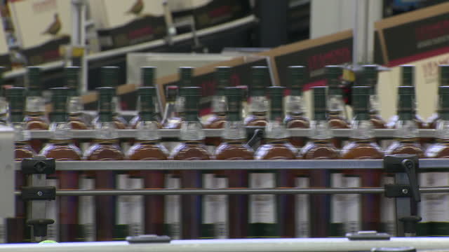 interior shots of a whiskey distillery bottling line in operation with bottles of macallan scotch whiskey being filled by automated machinery on 23... - scotch whiskey stock videos and b-roll footage