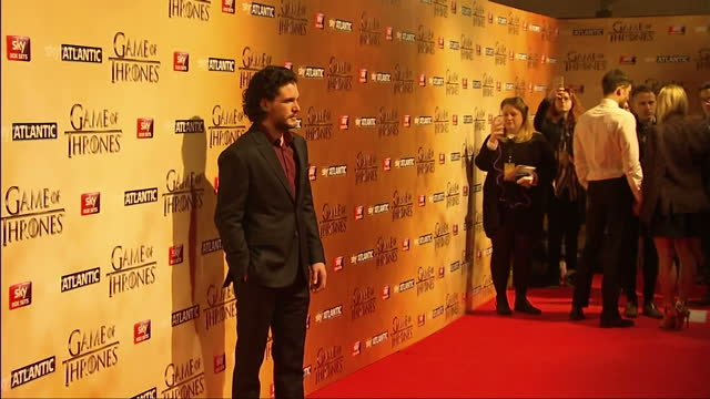 Interior shots of actor Kit Harrington posing on the red carpet at the Game of Thrones Season Five premiere>> on March 18 2015 in London England