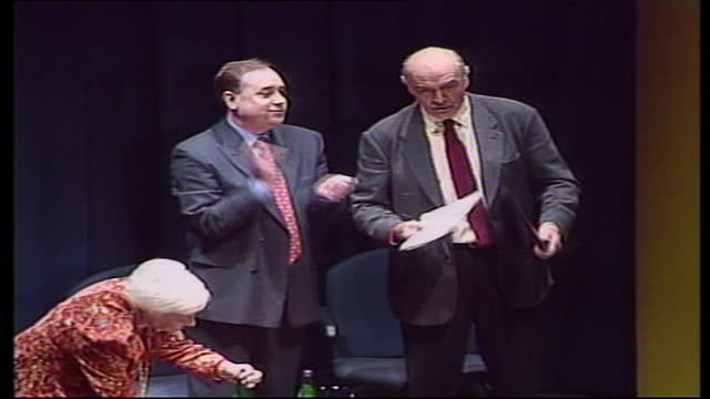 Interior shots of actor Sean Connery addressing an audience at an SNP conference ahead of the first Scottish Parliament election on May 12 1999 in...