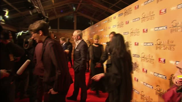 interior shots of actors speaking to reporters on the press line at the game of thrones season five premiere including liam cunningham isaac... - liam cunningham stock videos & royalty-free footage