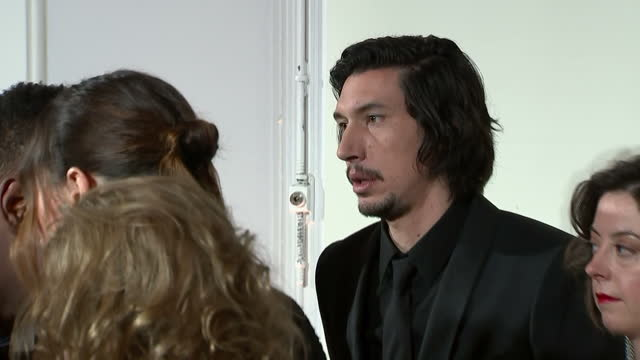 Interior shots of Adam Driver chatting with other cast members at the European Premiere of Star Wars The Last Jedi outside the Royal Albert Hall on...