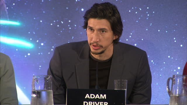 Interior shots of Adam Driver Lupita Nyong'o speaking at press conference for Star Wars The Force Awakens about the audition process and what advice...
