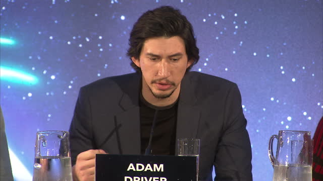 Interior shots of Adam Driver speaking at a press conference for Star Wars The Force Awakens about what it was like filming on set on December 17...