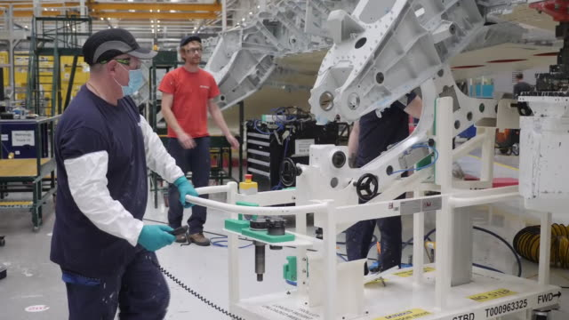 interior shots of airliner wings being assembled by robotic machinery and engineers in the airbus factory on 3 october 2020 in broughton, wales,... - air vehicle stock videos & royalty-free footage