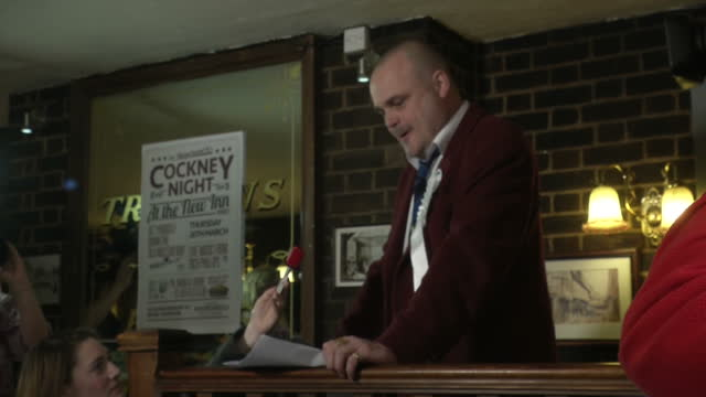 interior shots of al murray walking onto soapbox in pub and starting his speech, a comical bid for election as an mp for thanet on march 13, 2015 in... - al murray stock videos & royalty-free footage