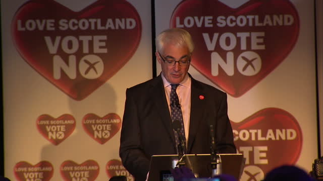 interior shots of alistair darling speech on the no vote winning the referendum. on september 19, 2014 in edinburgh, scotland. - 2014 stock-videos und b-roll-filmmaterial