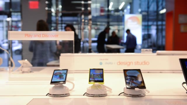 interior shots of an ATT store location at 250 West 57th Street in Manhattan New York Close up shots of ATT Mobile devices on display inside the...