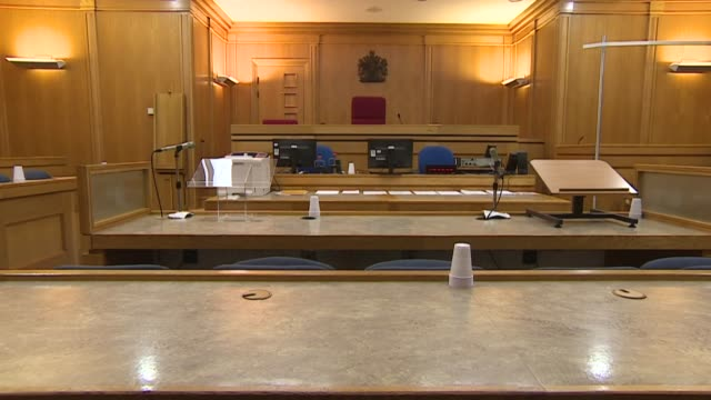 interior shots of an empty british courtroom - court room stock videos & royalty-free footage