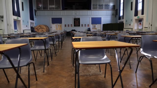 interior shots of an empty exam hall with tables and chairs set up after schools were forced to close due to coronavirus restrictions on 6 january... - general certificate of secondary education stock videos & royalty-free footage