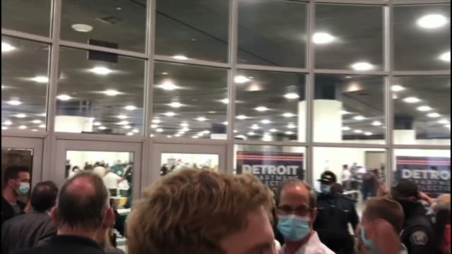 interior shots of angry republican protestors outside us election vote-tallying center 'shouting 'stop the count' on 4th november 2020 detroit,... - detroit michigan stock videos & royalty-free footage