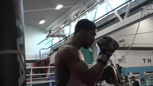 interior shots of anthony joshua boxer during his training session on 1st setember 2018 at english institute of sport sheffield in sheffield untied... - anthony joshua boxer stock videos & royalty-free footage