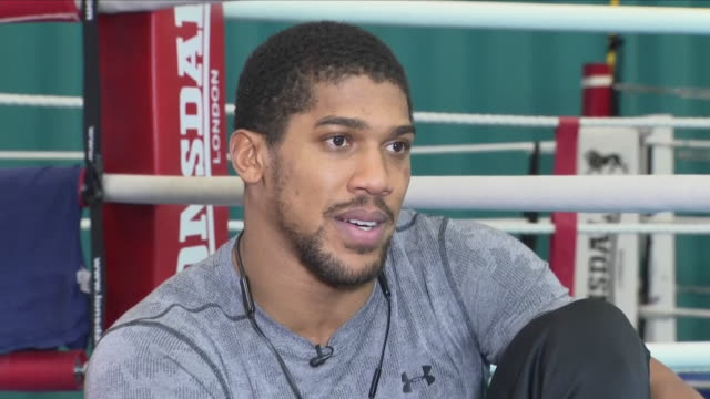 interior shots of anthony joshua boxer interview discussing his training and upcoming match against alexander povetkin on 1st setember 2018 at... - untied stock videos and b-roll footage