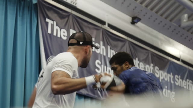 interior shots of anthony joshua heavyweight boxer training at sheffield gym on 21 july 2019 in sheffield united kingdom - anthony joshua boxer stock videos & royalty-free footage