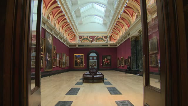interior shots of artwork and viewing gallieries at the national gallery on 28 july 2020, in london, united kingdom - art gallery stock videos & royalty-free footage