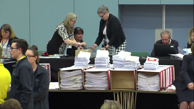 interior shots of ballot counting underway in the maidenhead election on 9 june 2017 in maidenhead united kingdom - counting stock videos & royalty-free footage