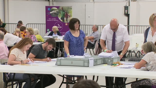 interior shots of ballots being counted during counting in the brecon and radnorshire by-election on 2 august 2019 in brecon, wales - 中央ウェールズ点の映像素材/bロール