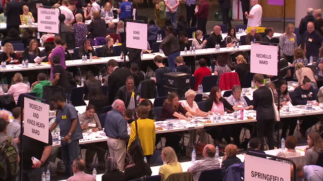 interior shots of ballots being counted in the international convention centre in birmingham during the eu referendum on june 23 2016 in birmingham... - ballot box stock videos & royalty-free footage