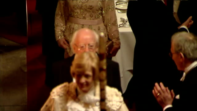 interior shots of banquet in windsor castle hosted by queen elizabeth ii as irish president michael d higgins walks into clapping on april 09 2014 in... - michael d. higgins stock videos and b-roll footage