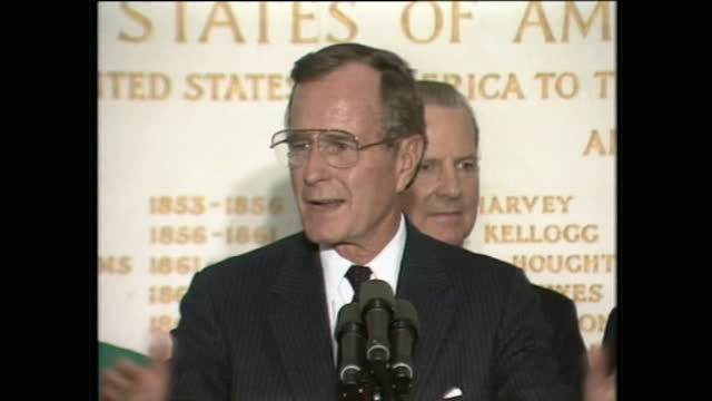 interior shots of barbara bush george h w bush and james a baker delivering a speech at the united states embassy on june 1 1989 in london england - bush stock videos & royalty-free footage