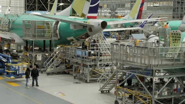 interior shots of boeing 737 max airliners at the company's renton manufacturing plant in various states of assembly on 28 march 2019 in seattle,... - aerospace stock videos & royalty-free footage