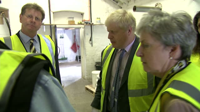 interior shots of boris johnson and gisela stuart mp on a tour of st austell brewery as part of their vote leave campaign on may 11 2016 in st... - st austell stock videos & royalty-free footage