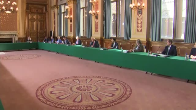 interior shots of boris johnson cabinet meeting; england: london: westminster: foreign and commonwealth office : locarno suite: int boris johnson mp... - ben wallace stock videos & royalty-free footage