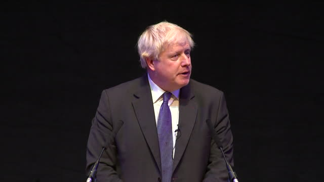 interior shots of boris johnson finishing his speech to a conservative fringe event and leaving to applause on 2 october 2018 in birmingham united... - boris johnson stock-videos und b-roll-filmmaterial