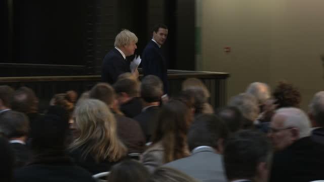 Interior shots of Boris Johnson Mayor of London making Long term Economic Plan for London speech Interior shots George Osborne Mp and Boris Johnson...