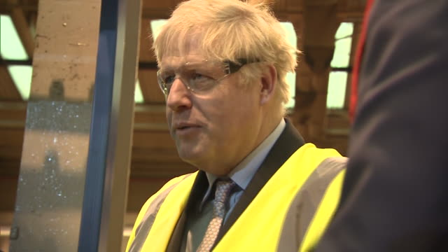 Interior shots of Boris Johnson MP on a tour of the JCB factory inspecting the production line on 18 January 2019 in Rocester Staffordshire United...