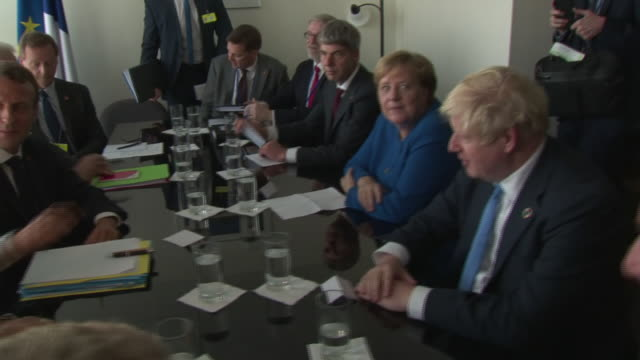 interior shots of boris johnson pm arriving at a un general assembly meeting attended by german chancellor angela merkel and french president... - angela merkel stock videos & royalty-free footage