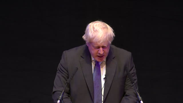 interior shots of boris johnson speaking on stage at a conservative party conference fringe event on 2 october 2018 in birmingham united kingdom - boris johnson stock-videos und b-roll-filmmaterial