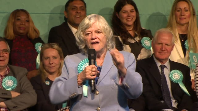 interior shots of brexit party candidate ann widdecombe speaking at the brexit party's final pre-european elections rally in olympia on 21 may 2019... - ann widdecombe stock videos & royalty-free footage