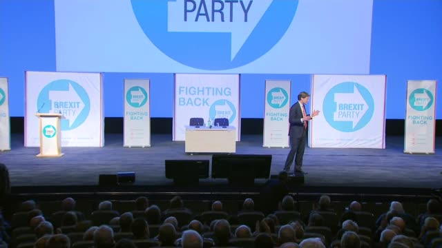 stockvideo's en b-roll-footage met interior shots of brexit party candidate richard tice, business entrepreneur, on stage introducing the launch of the party on 13 april 2019 in... - clean