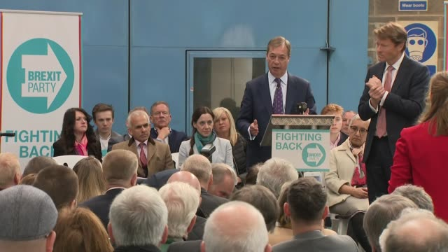 Interior shots of Brexit Party Chairman Richard Tice and founder Nigel Farage speaking at the party's launch on 12 April 2019 in Coventry United...