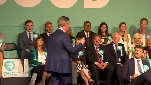 interior shots of brexit party founder nigel farage speaking at the party's final preeuropean election rally at olympia on 21 june 2019 in london... - founder stock videos and b-roll footage