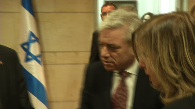 Interior shots of British Commons Speaker John Bercow in the Knesset refusing to answer a question on whether he'll resign as speaker on 13 February...