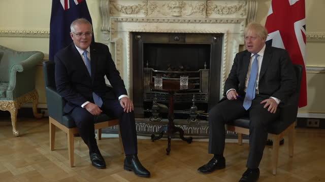 GBR: UK: Prime Minister Boris Johnson met Australian Prime Minister Scott Morrison at Downing Street.