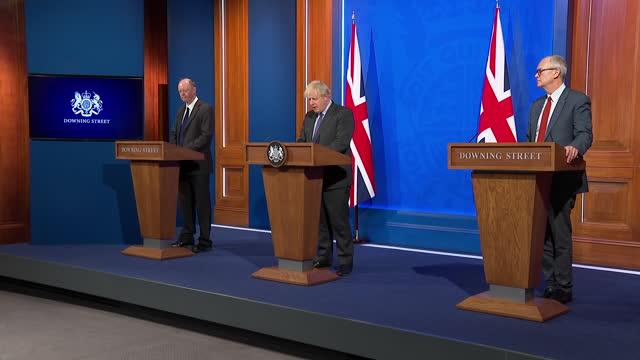 GBR: UK: Prime Minister Boris Johnson hosts coronavirus press conference inside 10 Downing Street.