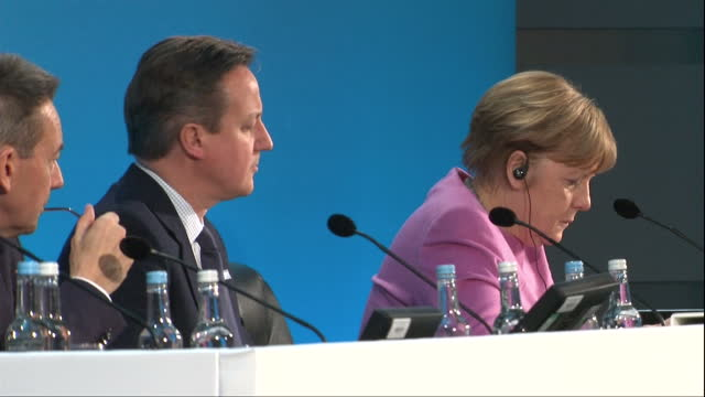 Interior shots of British Prime Minister David Cameron Germon Chancellor Angela Merkel UN General Secretary Ban KiMoon and guest speakers holding...